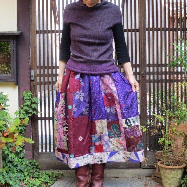 銘仙バルーンスカート☆粋な紫系+カラフルパッチでリバーシブル♪の画像1枚目