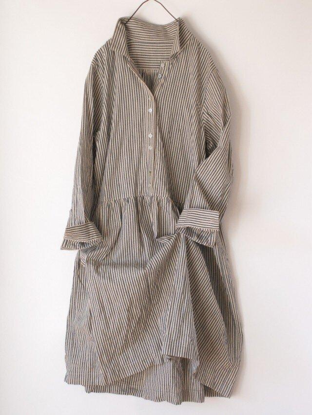 【再販 izさまご注文品】播州織のシャツワンピースの画像1枚目
