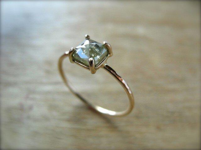 Green Diamond Prong Ring Squareの画像1枚目
