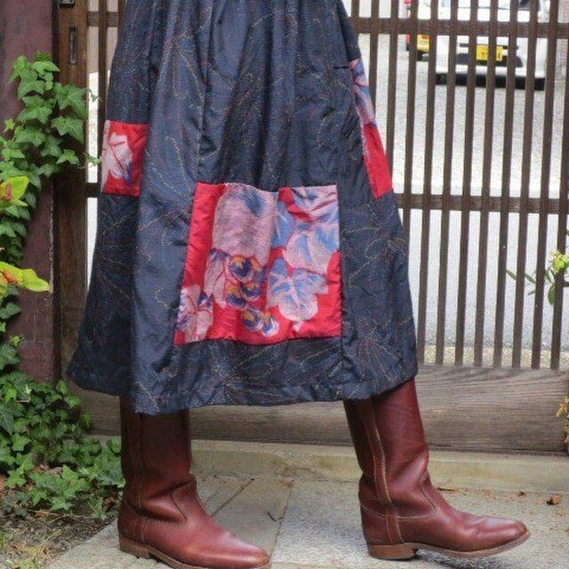 紬地+銘仙deリメイクスカート☆シックな紺地に葡萄の葉をパッチ♪の画像1枚目