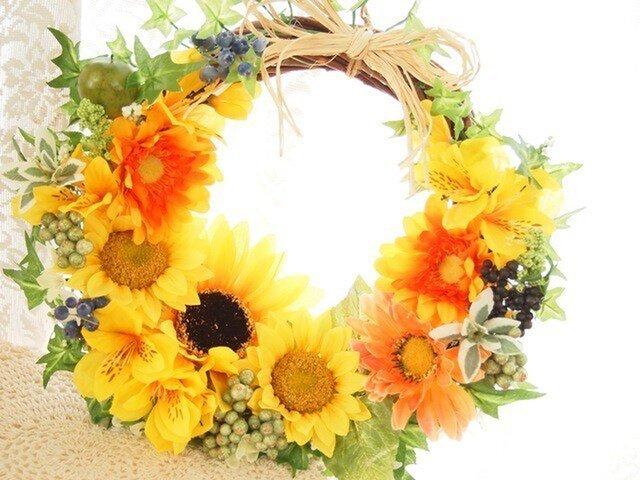 S様ご予約品*ビタミンカラーが可愛い向日葵の華やかリースの画像1枚目