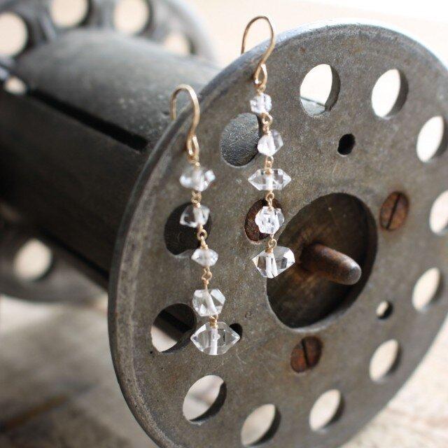 Herkimer Diamonds Five Stars earrings ハーキマーダイヤモンドの5スターピアス/イヤリングの画像1枚目