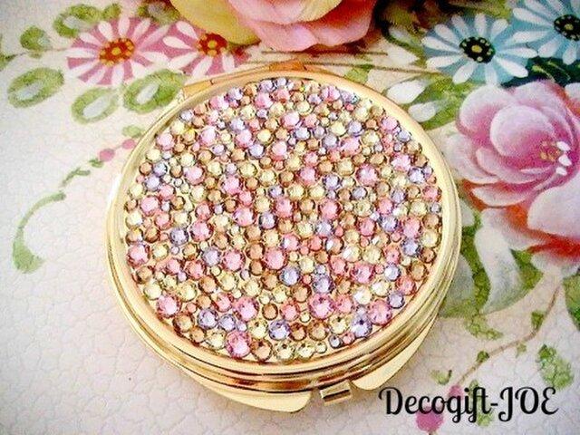 スワロフスキーデコ 丸型デコミラー 宝石箱 ゴールドの画像1枚目