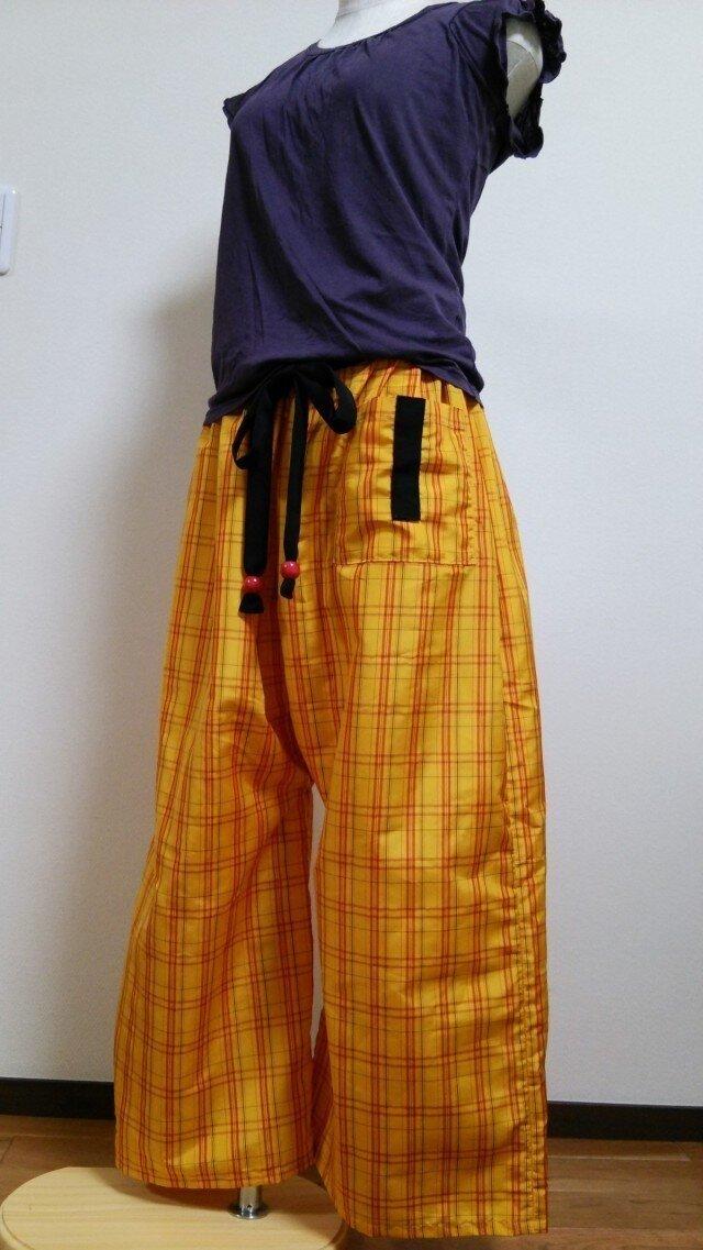 着物リメイク♪ 黄八丈ズボンの画像1枚目