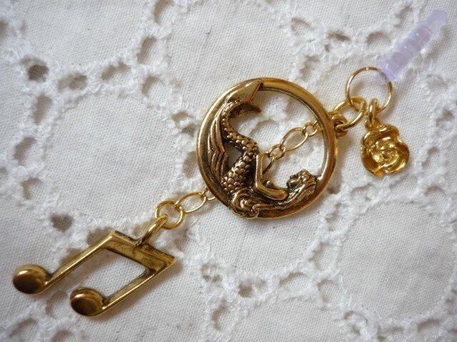 ★再販★人魚姫と音符のスマホピアスの画像1枚目