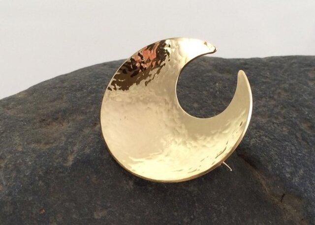 円月輪 真鍮鍛金ブローチ【M】の画像1枚目