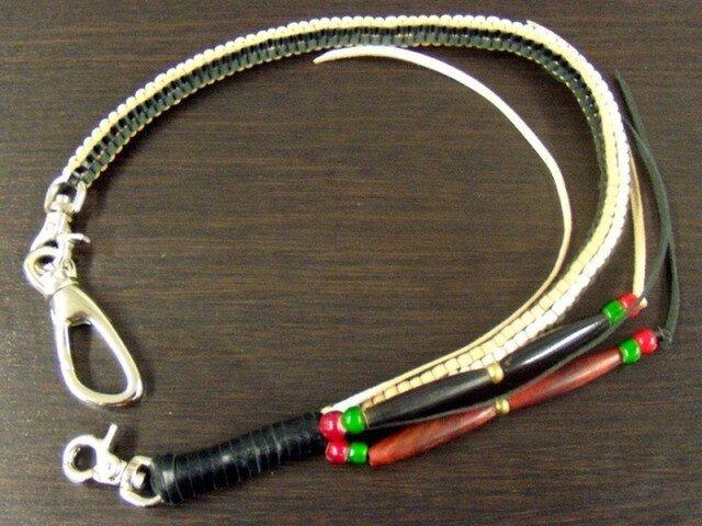 ボックス編みウォレットロープ カンガルー革(ナチュラル・黒)使用の画像1枚目