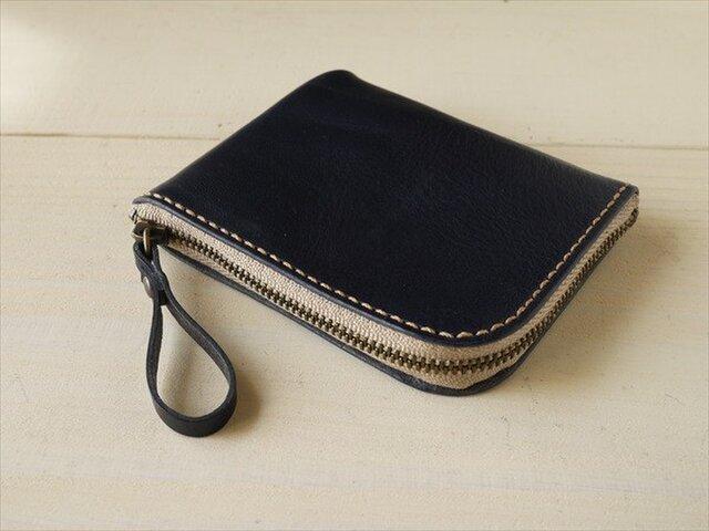L字ファスナーのコンパクトな財布・ネイビーの画像1枚目