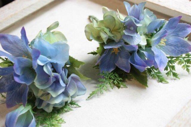 空色紫陽花(あじさい)と青色桔梗☆初夏のコサージュの画像1枚目