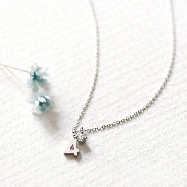 誕生月と誕生石シルバーネックレス4月ダイヤモンド Diamondの画像1枚目