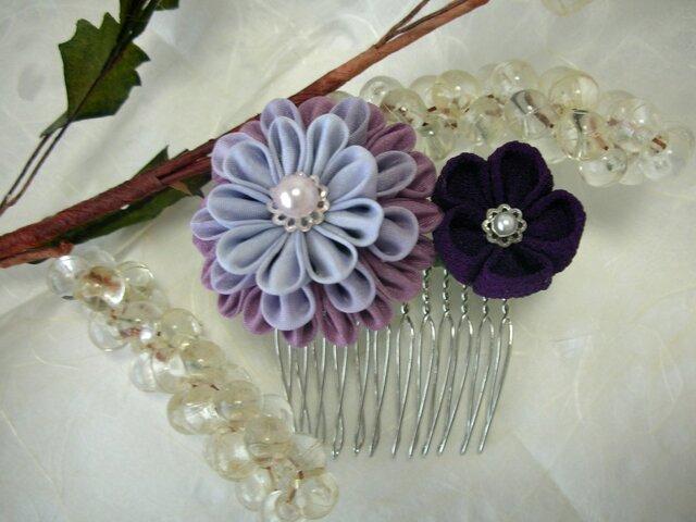 【つまみ細工】正絹とちりめんの髪飾り purpleの画像1枚目