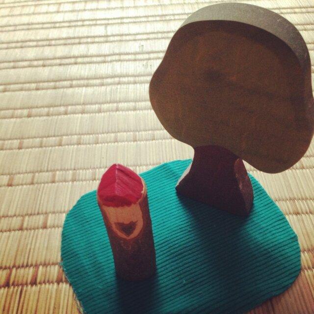 木のこびと 赤×茶(小)の画像1枚目