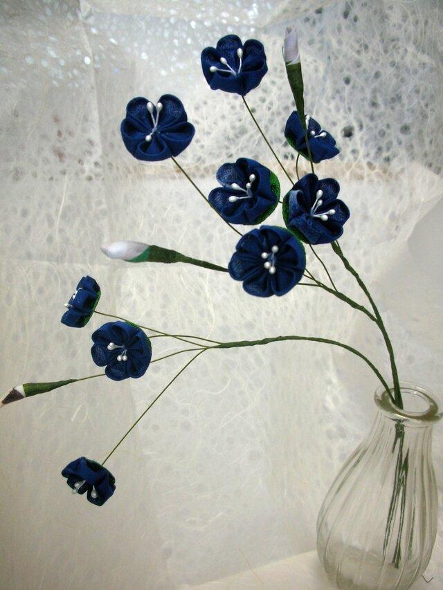 【つまみ細工】アートフラワー blueの画像1枚目