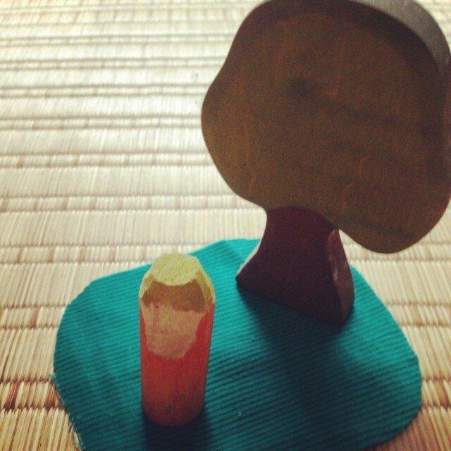 木のこびと 黄緑×オレンジ(小)の画像1枚目