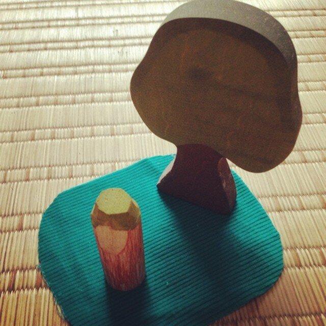 木のこびと 黄緑×赤紫(小)の画像1枚目