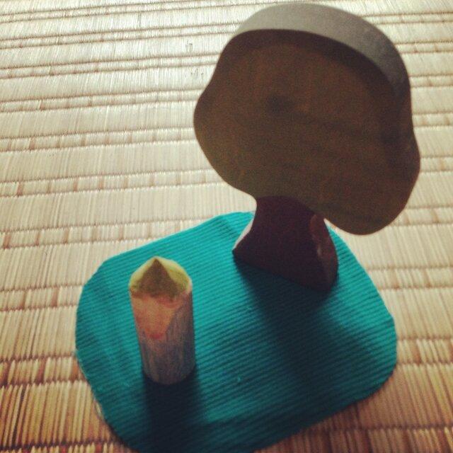 木のこびと 黄緑×青(小)の画像1枚目