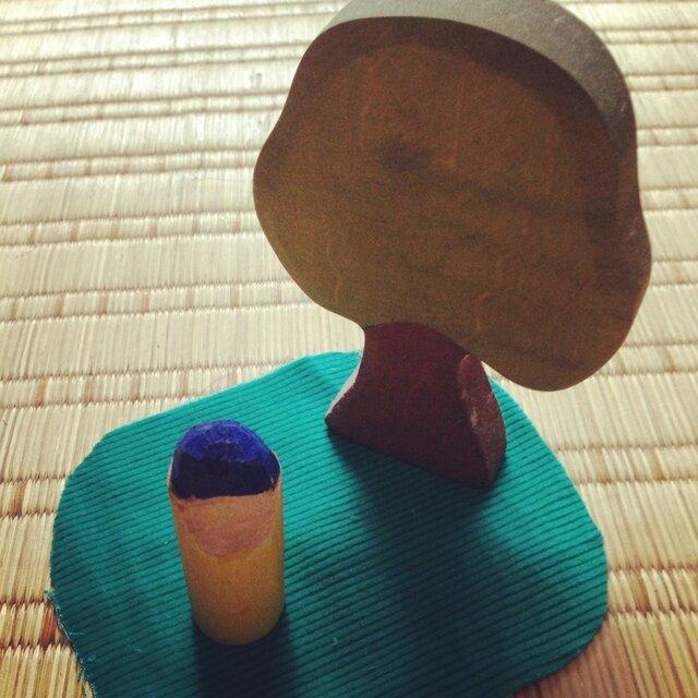 木のこびと 青×黄(小)の画像1枚目