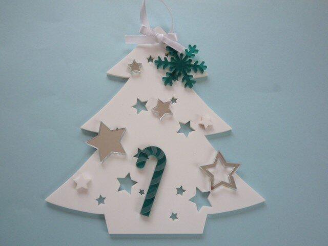アクリルのクリスマスツリー(壁掛)№2の画像1枚目