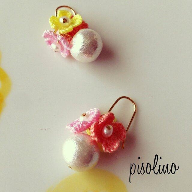お花のかんむり コットンパール ピアス 〜Pink・Yellowの画像1枚目
