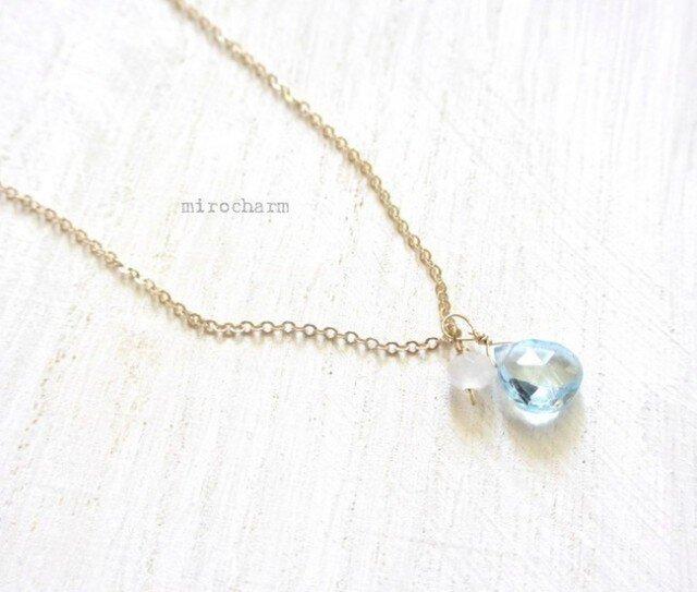 宝石質 きらきらブルートパーズのネックレス 14KGFの画像1枚目