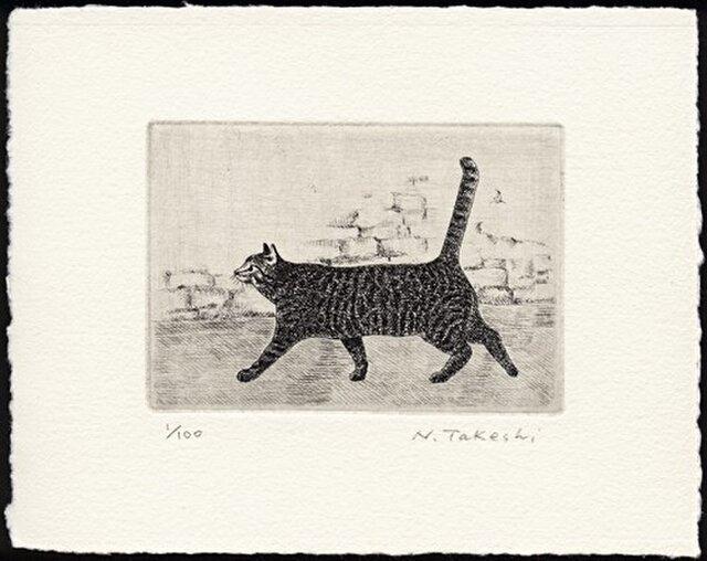 横向きの猫・2015 / 銅版画 (作品のみ)の画像1枚目