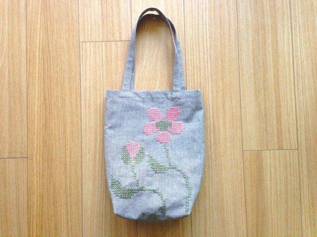 リネンバッグ ピンクのお花の画像1枚目