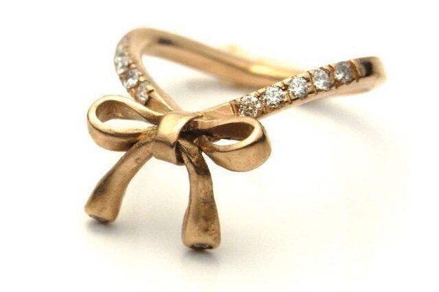 【受注制作】ゴールドリボンxダイヤモンド・K18ピンクゴールドの画像1枚目