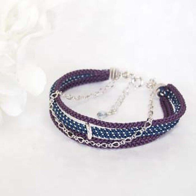 ●kono (purple×navy blue)絹組紐5連ブレスの画像1枚目