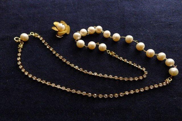 ヴィンテージラインストーンとパールのネックレスの画像1枚目