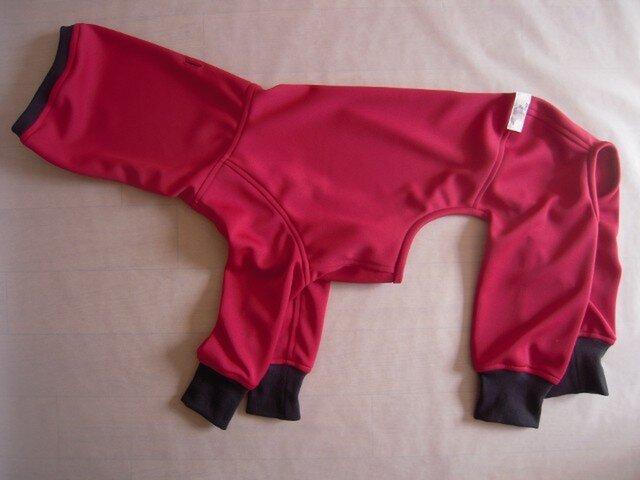 犬服 フルスーツ 濃い赤55cmの画像1枚目