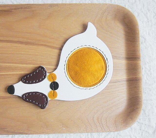 革製コースター(黄)の画像1枚目