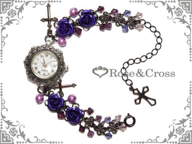 ゴシック・ゴスロリ・パンク系紫薔薇&ビーズの腕時計の画像1枚目