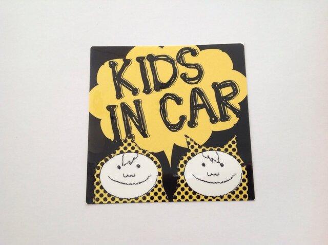 KIDS IN CAR ステッカー  兄弟 男の子の画像1枚目