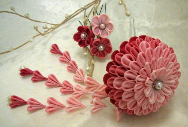 さがり付きかんざし大 pink 【つまみ細工】の画像1枚目