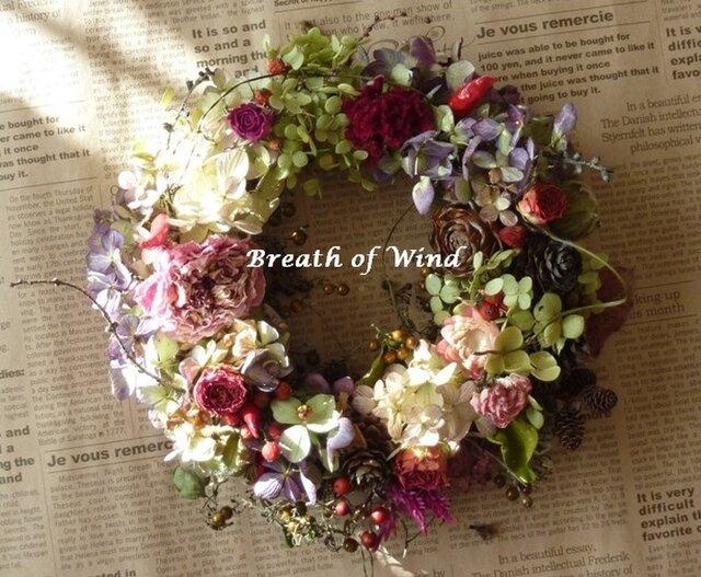 3種の紫陽花のリースの画像1枚目