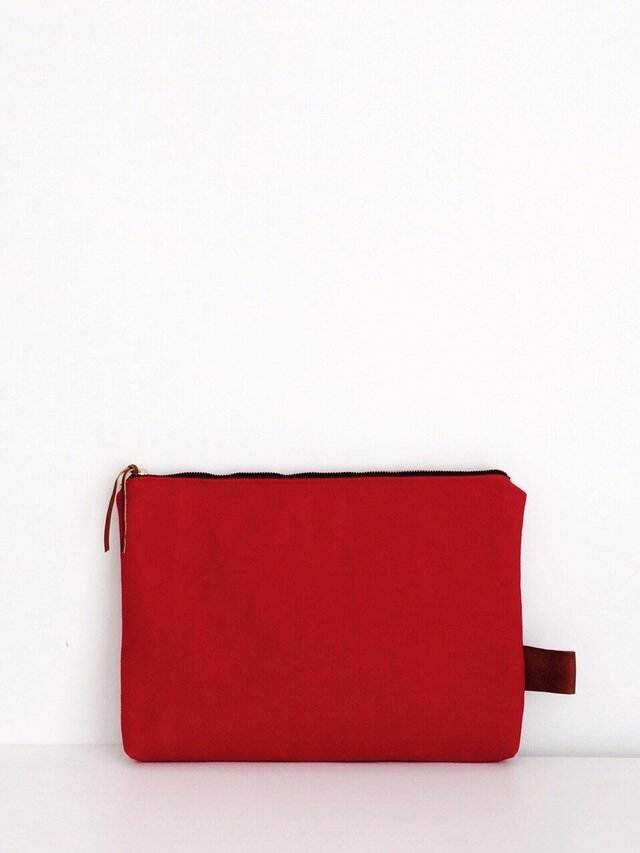 帆布×本革 クラッチバッグ red×navyの画像1枚目