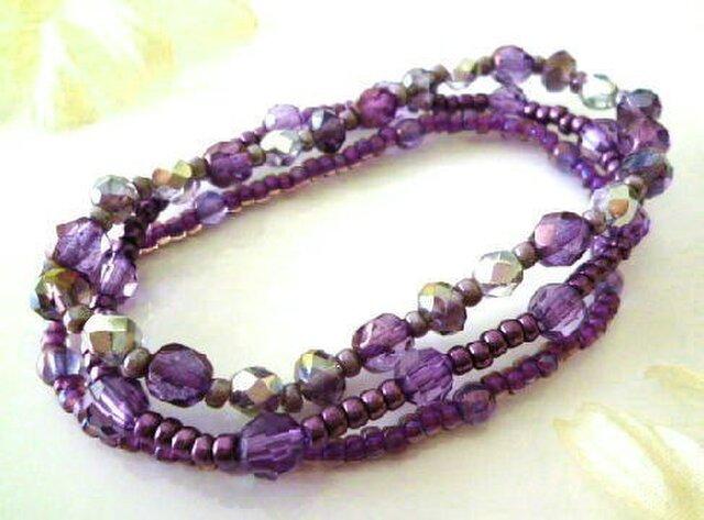 3連ゴムブレスレット 紫の画像1枚目