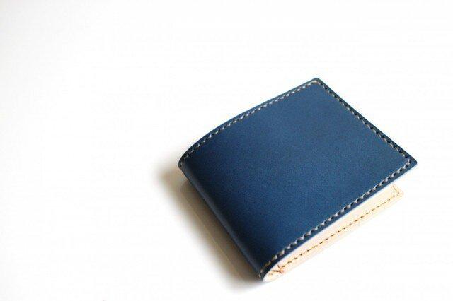 【受注生産品】二つ折り財布 〜栃木アニリン青×栃木サドル〜の画像1枚目