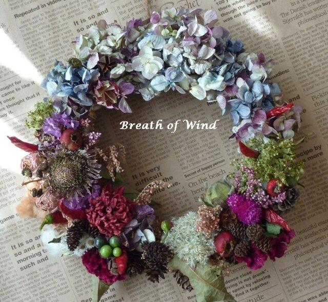 紫陽花とダリアのリースの画像1枚目