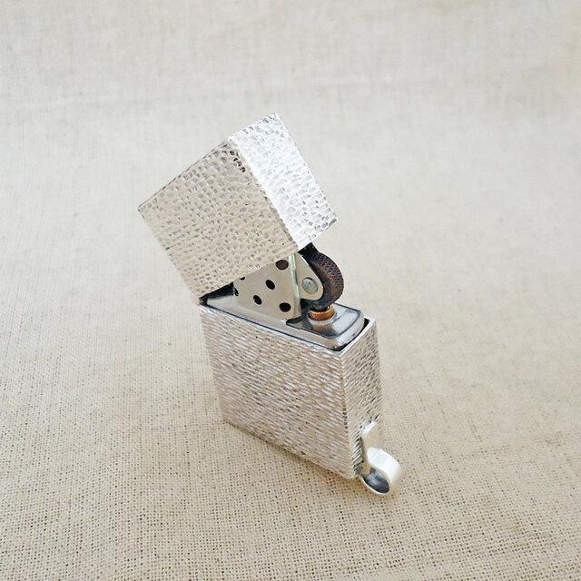 オイルライター用ケース・さざ波 銀製(シルバー925)手作り一点物の画像1枚目