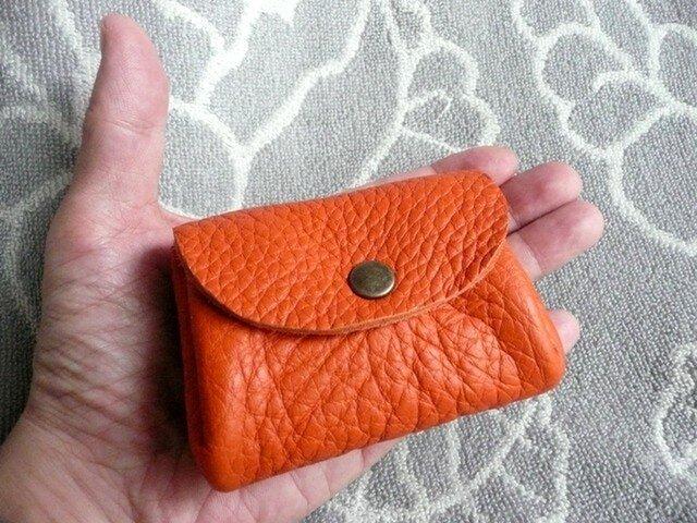 【新作】橙色(オレンジ)トリヨンのぷっくりポーチ・ミニの画像1枚目