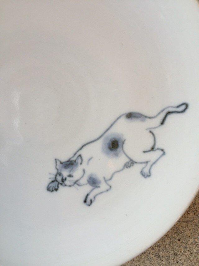 染付5寸猫皿 36の画像1枚目