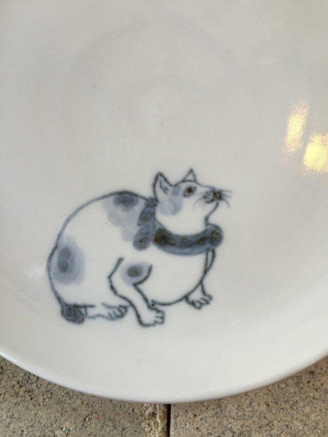 染付5寸猫皿 37の画像1枚目