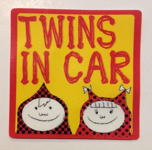 ミックス TWINS IN CAR ステッカー 男の子女の子の画像1枚目