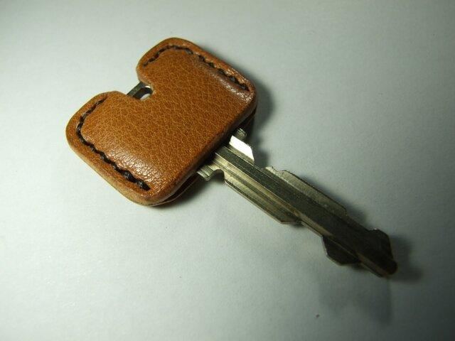 キャメルのキージャケット 焦げ茶ステッチ の画像1枚目