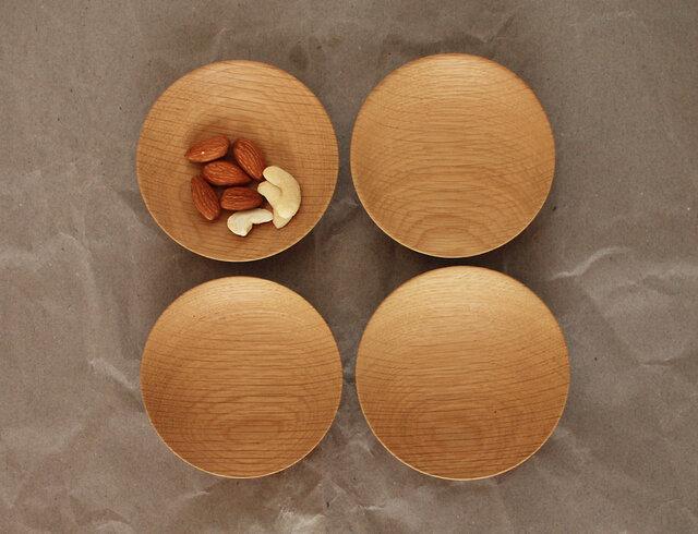 木の小皿 楢材3 4枚セットの画像1枚目