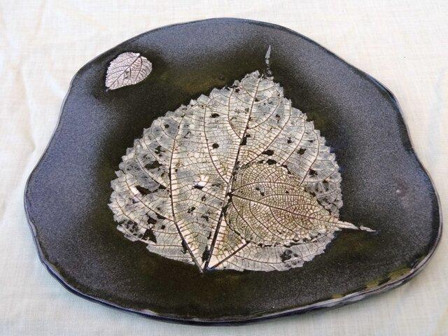 野草葉脈紋、鉄画変形皿 の画像1枚目
