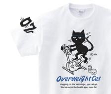 フィットネスバイクと猫 150.160.(女性M.L) S~XL  Tシャツ【受注生産品】の画像1枚目