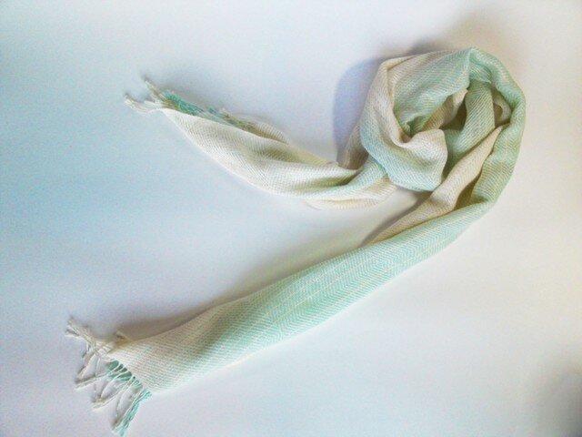 手織 コットンストール ミントグリーン×生成グラデーション 巾30cmの画像1枚目