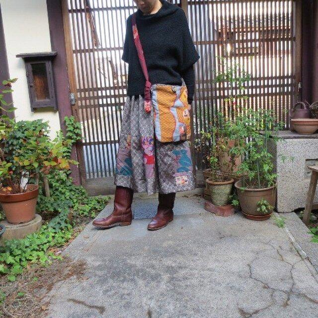 秋色銘仙de細長ポシェット☆内布シックな茶系で大人♪の画像1枚目